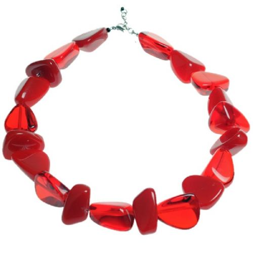 Jackie Brazil Flintstones Resin Necklace in Red Mix